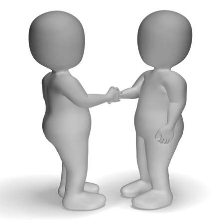 3d Characters Shaking Hands Shows Greeting Or Deal photo