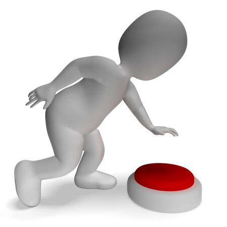 Button Pushed By 3d Man Shows Start Or Control Stock Photo - 18407052