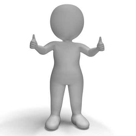 Thumbs Up 3d Character Shows Success And Approval Stock Photo - 18407072