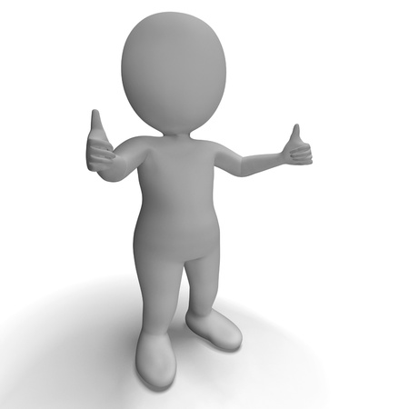 Thumbs Up 3d Character Showing Success And Approval Stock Photo - 18407093