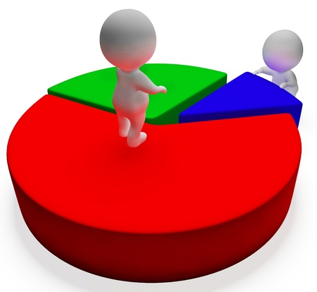 Pie Chart And 3d Characters Shows Statistics Report Stock Photo - 18407190