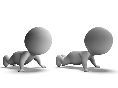 Push Ups Or Pressups Being Done By 3d Characters Stock Photo - 18407124