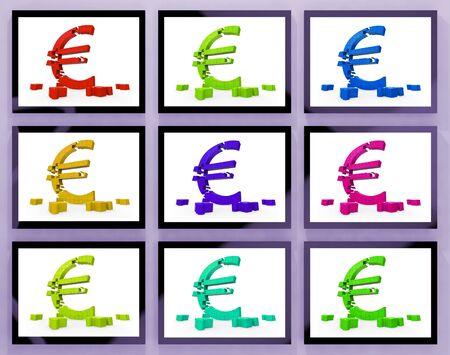 Euro Symbols On Monitors Showing European Profits And Interests Stock Photo - 18407643
