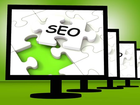 optimizing: SEO On Monitors Showing Optimized Search Or Browsing