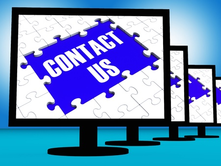 Contact Us On Monitors Shows Assistance And Feedback Stock Photo - 18407534