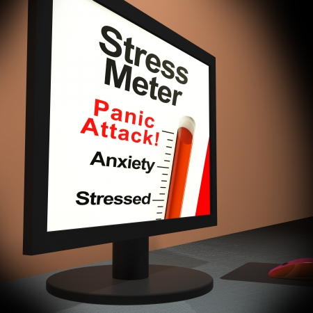 Stress Meter On Laptop Showing Panic Attack Or Mental Crisis Stock Photo - 18407336