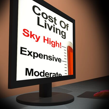 Cost Of Living On Monitor Showing Budget Or Maintenance Cost Stock Photo - 18407343