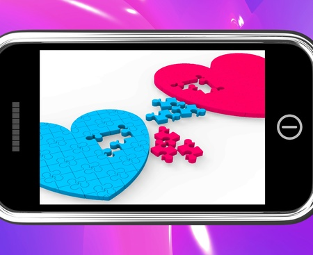 soul mate: Two Hearts On Smartphone Showing Commitment And Engagement