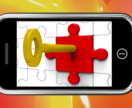 Key In Lock On Smartphone Shows Private Messages Or Secrecy Stock Photo - 18407599