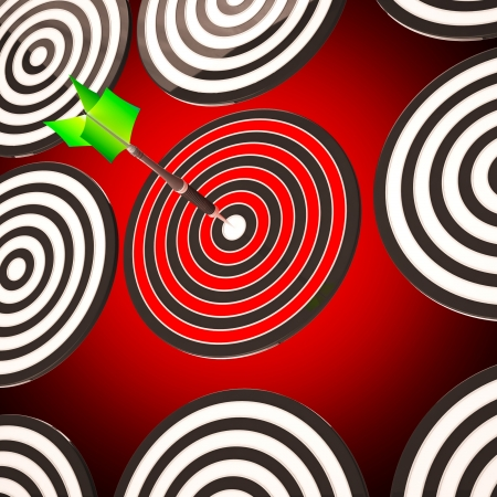Bulls eye Target Arrow Showing Focused Competitive Strategy photo