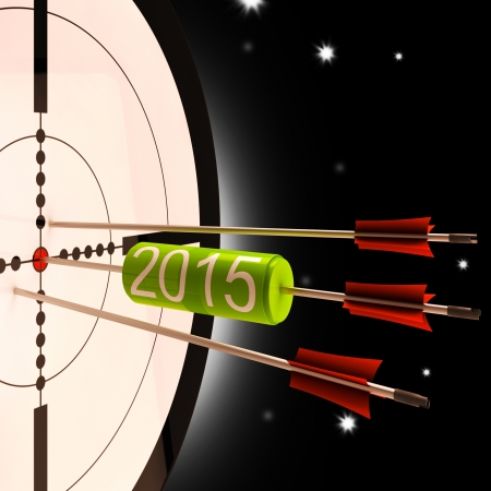 projected: 2015 Future Projection Target Showing Forward Planning Stock Photo