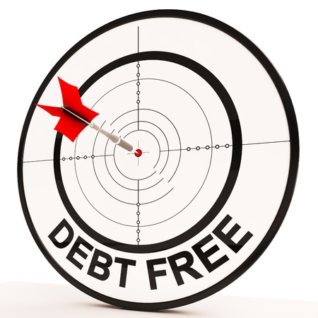 financial targets: Debt Free Target Showing Economic Financial Success