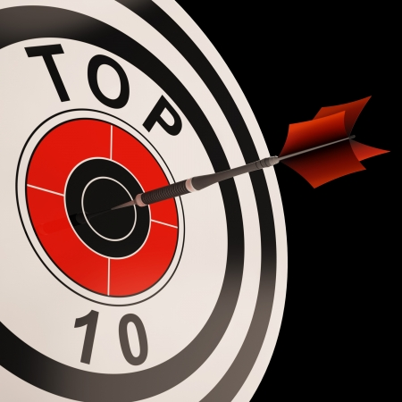 selected: Top Ten Target Showing Best Selected Achievement Result Stock Photo