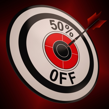 markdown: 50 Percent Off Showing Markdown Purchasing Bargain Advertisement