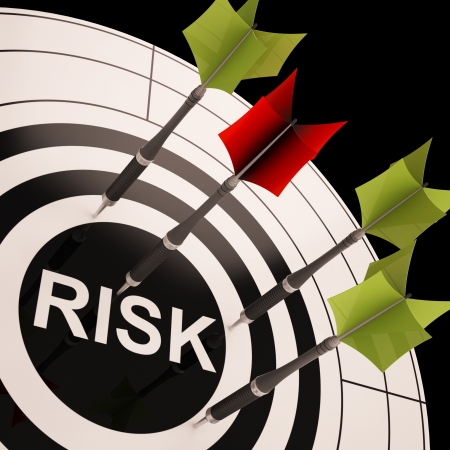 risky business: Risk On Dartboard Shows Risky Business Or Monetary Crisis Stock Photo