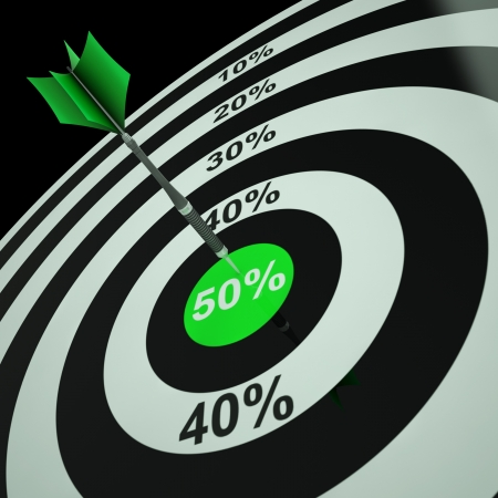 50Percent On Dartboard Shows Bonus Prices Or Promotions Stock Photo - 18407260
