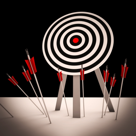 ineffective: Arrows On Floor Showing Missing Objective Or Bad Competitor Stock Photo