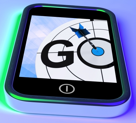 Go On Smartphone Shows Target Beginnings Or Activation Stock Photo - 18407751