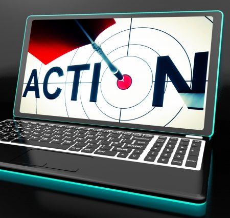 activism: Action On Laptop Shows Motivation And Activism Stock Photo