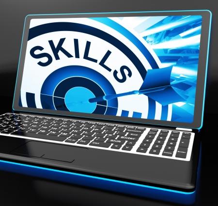 Habilidades en la computadora portátil muestra grandes habilidades y talentos Foto de archivo - 18407656