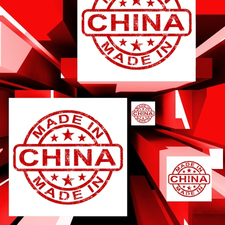 Made In China On Cubes Showing Chinese Products And Factory photo