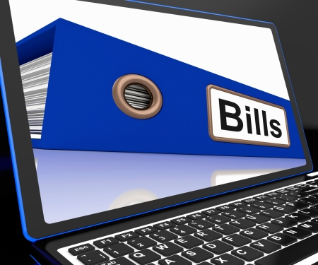 Bills File On Laptop Showing Due Payments Or Invoices Folder Stock Photo - 18407782