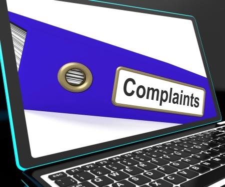 complaints: Complaints File On Laptop Shows Complaints Or Moans Records Stock Photo