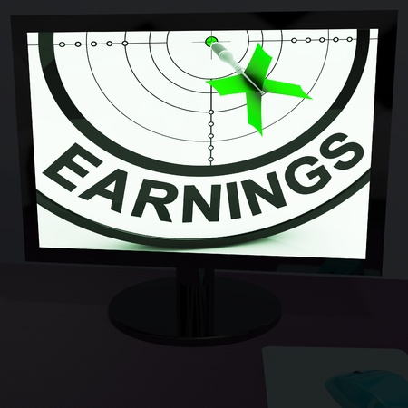 lucrative: Earnings On Monitor Showing Profitable Incomes And Lucrative Profits