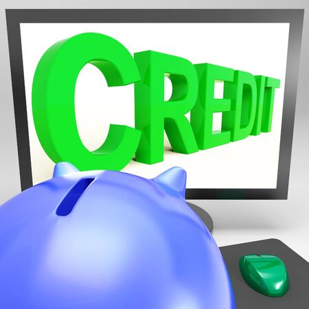 borrowing: Credit On Monitor Showing Money Loan Or Borrowing Money Stock Photo