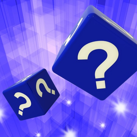 enquire: Question Mark Dice Background Showing Confusion And Uncertainty