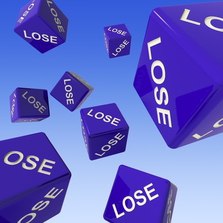 defeat: Lose Dice Background Showing Failure Or Defeat