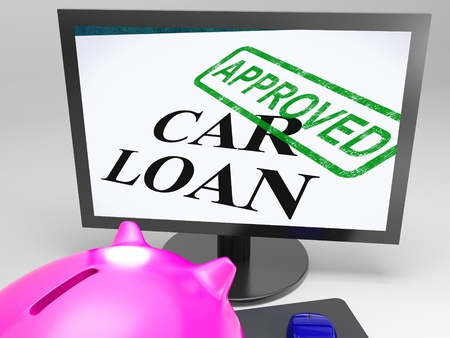 confirmed: Piggy bank look at Car Loan Approved Showing Vehicle Credit Confirmed