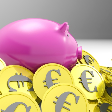 richness: Piggy bank Surrounded In Coins Shows European Economy And Richness