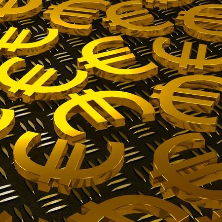 Euro Symbols On Floor Shows European Prosperity And Fortune Stock Photo - 20568633