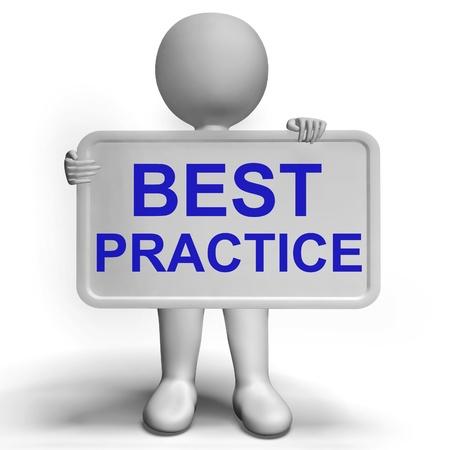 Best Practice Sign Muestra procedimientos más eficientes Foto de archivo