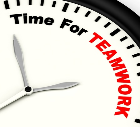 combined effort: Time For Teamwork Message Showing Combined Effort And Cooperation Stock Photo