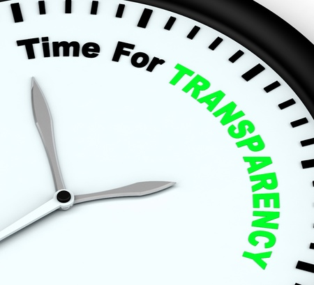 fairness: Time For Transparency Message Showing Ethics And Fairness Stock Photo