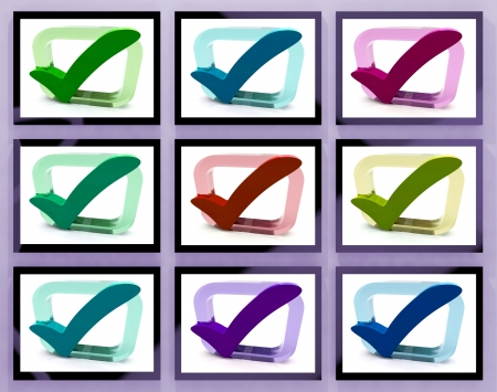 Check Marks On Monitors Shows Customers Satisfaction And Acceptation Stock Photo - 20568787