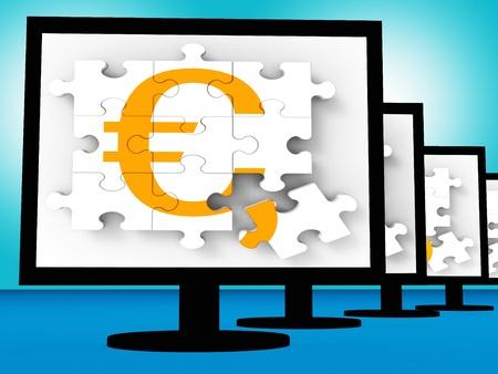 Euro Symbol On Monitors Showing Europe Profits Or Interests Stock Photo - 20569051