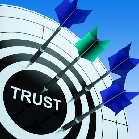 Confía en dartboard Espectáculos fiabilidad y confianza