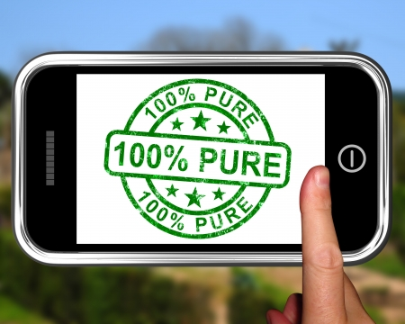 untreated: 100 Percent Pure On Smartphone Shows Genuine Or Untreated Stock Photo