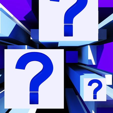 enquire: Question Mark On Cubes Shows Uncertainty Or Confusion Stock Photo