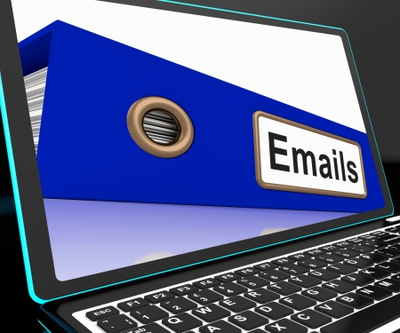 Mails File On Laptop Shows Online Correspondence And Messages List photo