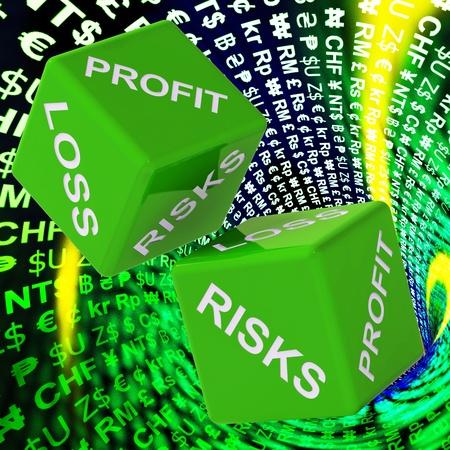 perdidas y ganancias: Beneficios, p�rdidas, riesgos dados fondo muestra las inversiones de riesgo o el comercio