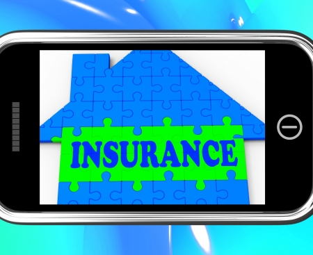 Insurance On Smartphone Showing House Financial Security And Protection Stock Photo - 20568752