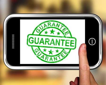 satisfaction guarantee: Guarantee On Smartphone Showing Satisfaction Guarantee Or Certificate