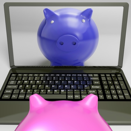 Piggy bank look at Piggy On Screen Showing Internet Investment Savings photo