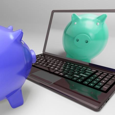 Piggy bank look at Piggy On Screen Shows Digital Web Piggy bank photo