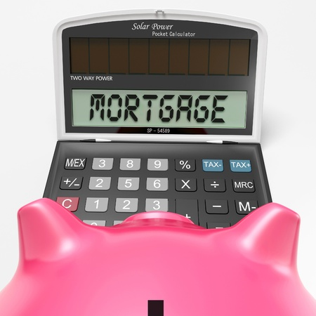 Piggy bank look at Mortgage Calculator Showing Purchase Of Real Estate Stock Photo - 20570826