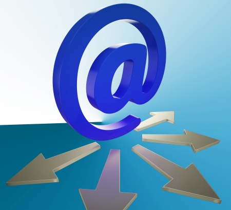 mailed: Email Arrows Showing Information Mailed To Addresses